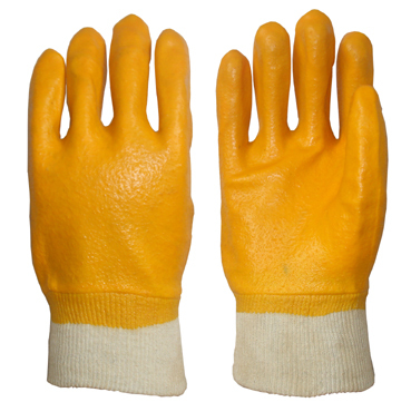 Yellow Pvc Glove Knit Wrist Rough Finish