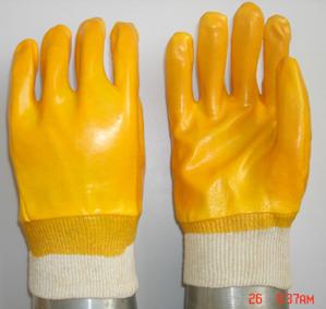 Yellow Pvc Glove Knit Wrist Smooth Finish