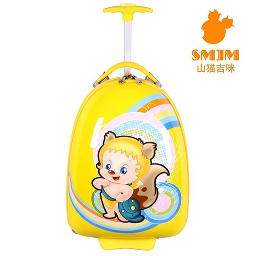 Yellow Shanmao Oval Shape Best Designer Suitcase 2 Wheel Trolley